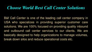 Choose World Best Call Center Solutions