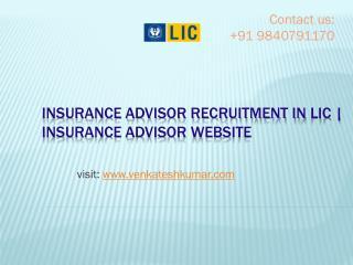 Insurance advisor recruitment in lic | Insurance advisor website