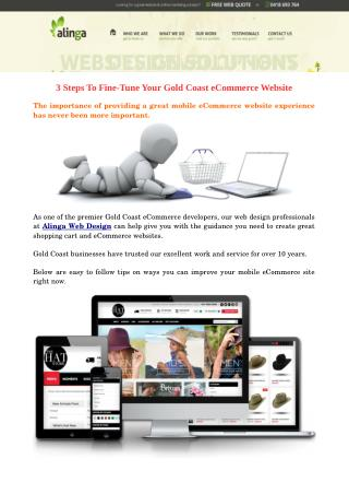 3 Steps To Fine-Tune Your Gold Coast eCommerce Website