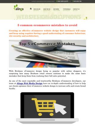 5 common ecommerce mistakes to avoid