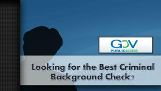 Looking for the Best Criminal Background Check?
