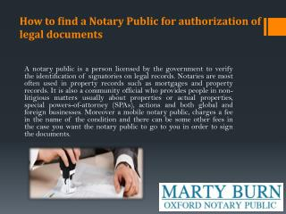 How to find a Notary Public for authorization of legal documents