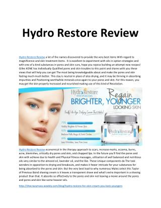Hydro Restore Review - Get Younger Looking Skin