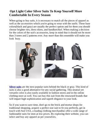 Silver Pants Suits For Men