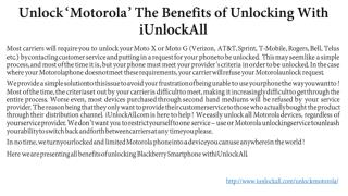 Unlock Motorola With iUnlockAll & Its Benefits of Unlocking