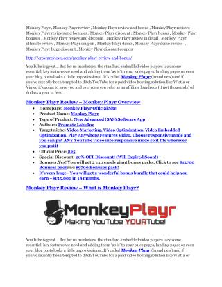 Monkey Playr review & SECRETS bonus of Monkey Playr