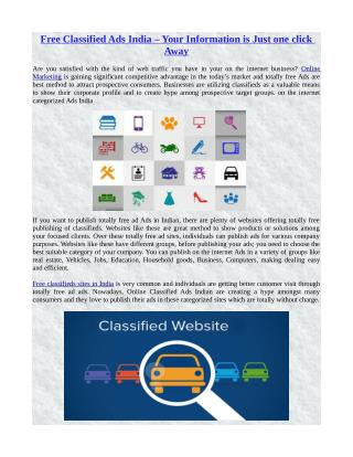 Free Classified Ads India – Your Information is Just one click Away