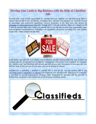 Develop your Little or Big Business with the Help of Classified Ads