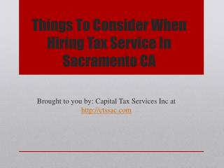 Things To Consider When Hiring Tax Service In Sacramento CA