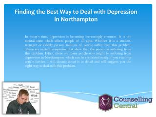 Finding the Best Way to Deal with Depression in Northampton