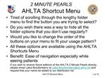 2 MINUTE PEARLS AHLTA Shortcut Menu