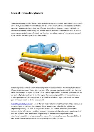 Uses of Hydraulic cylinders