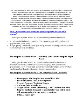 The Empire System review and MEGA $38,000 Bonus - 80% Discount