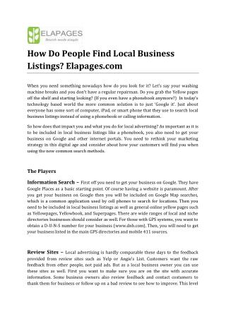 How Do People Find Local Business Listings? Elapages.com