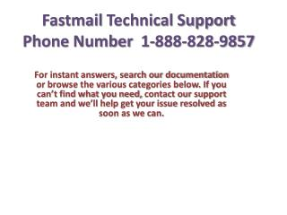 Fastmail Technical 1-888-828-9857 support phone number