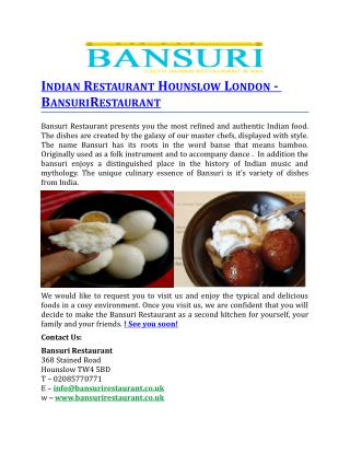 Indian Restaurant Hounslow London BansuriRestaurant