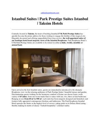 Istanbul Suites - Park Prestige Suites Istanbul - Taksim Hotels