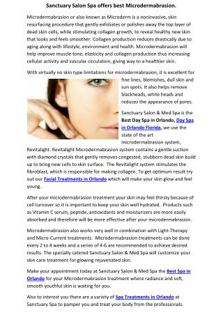 Sanctuary Salon Spa offers best Microdermabrasion