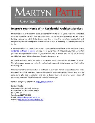 Improve Your Home With Residential Architect Services