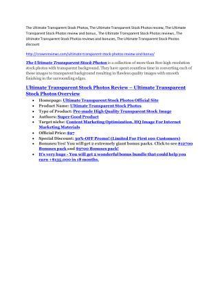 The Ultimate Transparent Stock Photos Review-$9700 Bonus & 80% Discount