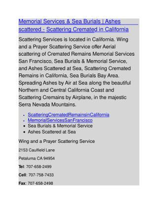Memorial Services & Sea Burials | Ashes scattered - Scattering Cremated in California