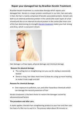 Repair your damaged hair by Brazilian Keratin Treatment