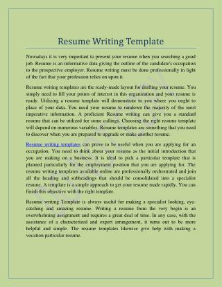 Resume Writing Templates | Resume in Minutes, Free Resume Templates, Professiona