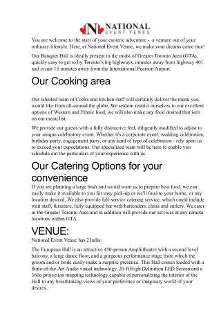 About National event venue the banquet hall