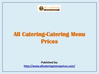 Catering Menu Prices