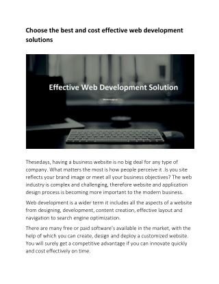 Choose the best and cost effective web development solutions