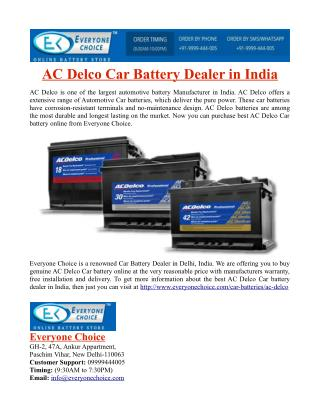 AC Delco Car Battery Dealer in India