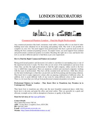 Commercial Painters London – Find the Right Professionals