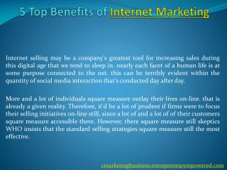 5 Top Benefits of Internet Marketing