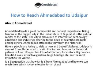 How to Reach Ahmedabad to Udaipur