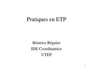 Pratiques en ETP
