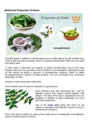 Medicinal Properties of Neem