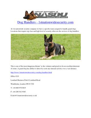 Dog Handlers - 1stnationwidesecurity.com