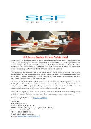 SEO Services Bangkok Put Your Website Ahead