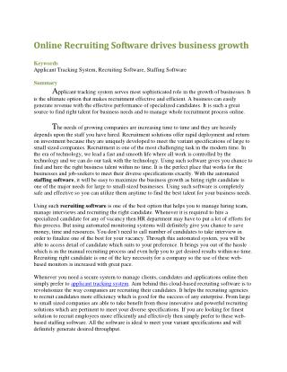 Online Recruiting Software drives business growth