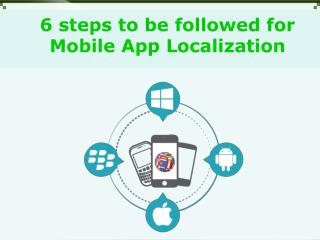 6 step process indicated for mobile app localization