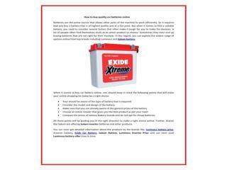 Buy Amaron, Exide,Luminous,sukam Car & inverter Battery online at competitive prices
