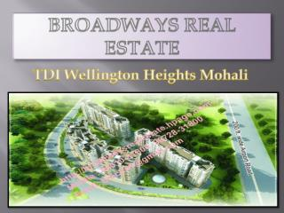 TDI Wellington Heights Mohali, TDI 3BHK Flats in Sector 117 Mohali
