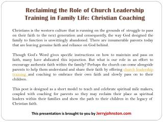 Reclaiming the Role of Church Leadership Training in Family Life: Christian Coaching