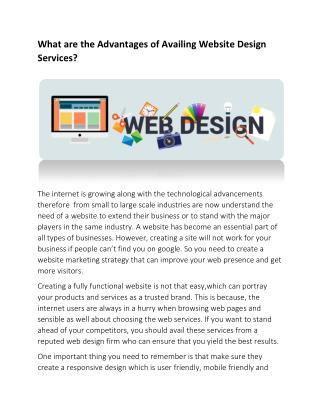 What are the Advantages of Availing Website Design Services?