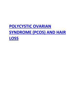 POLYCYSTIC OVARIAN SYNDROME (PCOS) AND HAIR LOSS