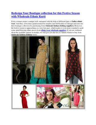 Redesign Your Boutique collection for this Festive Season with Wholesale Ethnic Kurti