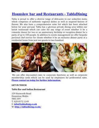 Hounslow Bar and Restaurants TablaDining