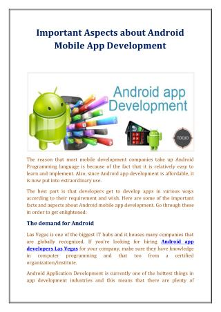 Important Aspects about Android Mobile App Development