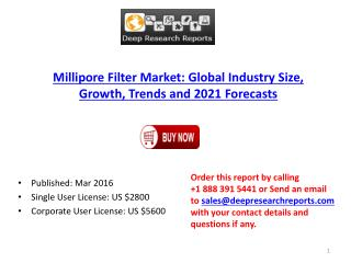 Millipore Filter Market Worldwide (US, Europe, Japan) Regional Research Review