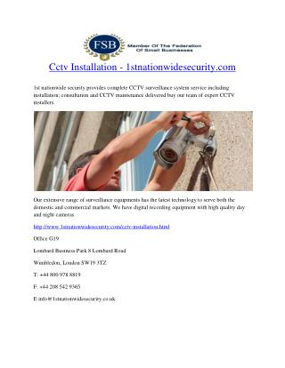 Cctv Installation - 1stnationwidesecurity.com